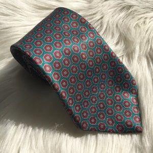 Etienne Aigner Vintage Tie Teal Maroon Geometric